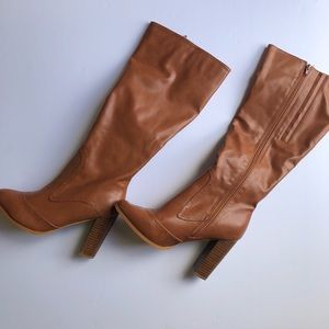 N.Y.L.A. tan heeled tall boots NWOT